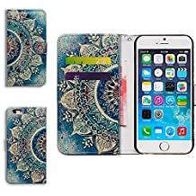 Forfun Packing Bcov Green Circular Mandala Card Slot Stand Wallet Leather Cover Case For iPhone 5 5S SE