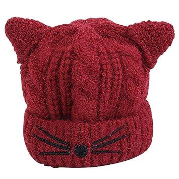 TININNA Winter Warme Nette Katze Muster Häkeln Strickmütze Ski Hut ...