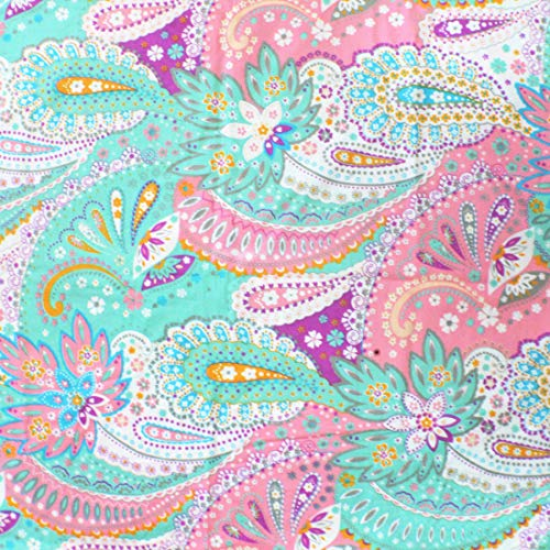 iNee Paisley Sewing Fabric by The Yard, 100% Cotton, 2 Yards (100 Cotton Flannel Fabric By The Yard)