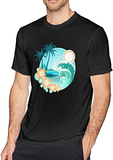KLING Camiseta Hawaiian Sea Beach Palm Tree Hipster Camisetas cómodas con Cuello Redondo de Adultos Camiseta: Amazon.es: Ropa y accesorios