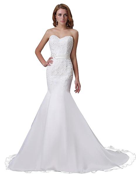 fa0be5b49e Adasbridal-Impresionante vestido de novia de organza con escote corazon de  la sirena