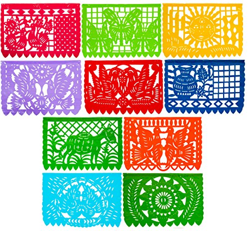 Festive Large PLASTIC ANY Occasion Mexican Papel Picado Banner (15 Feet Long) (Mexican Wedding Flags)