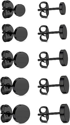 LUXUSTEEL 6 Pairs 316L Sugical Stainless Steel Black Cubic Zirconia Piercing Stud Earrings for Men Women Girls