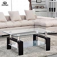 Rectangular Glass Coffee Table Shelf Chrome Black Wood Living Room