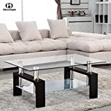 Rectangular Glass Coffee Table Shelf Chrome Black Wood Living Room