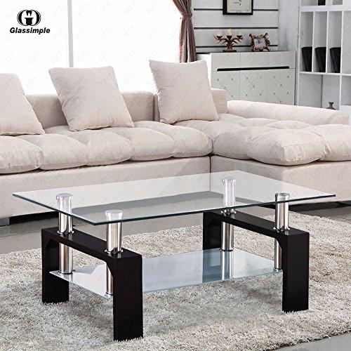 Bailey Sales Rectangular Glass Coffee Table Shelf Chrome Black Wood Living Room Furniture