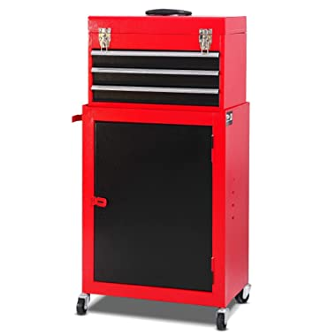 Giantex 2pc Mini Tool Chest & Cabinet Storage Tool Box Rolling Garage Toolbox Organizer with Top Chest and Sliding Drawers, 17.9  X11  X35.8