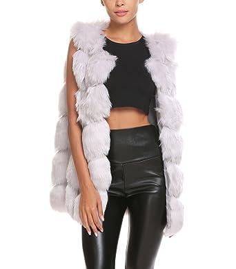 Soteer Damen Weste Winter Longweste Fellimitatweste Fellweste Warm Outwear
