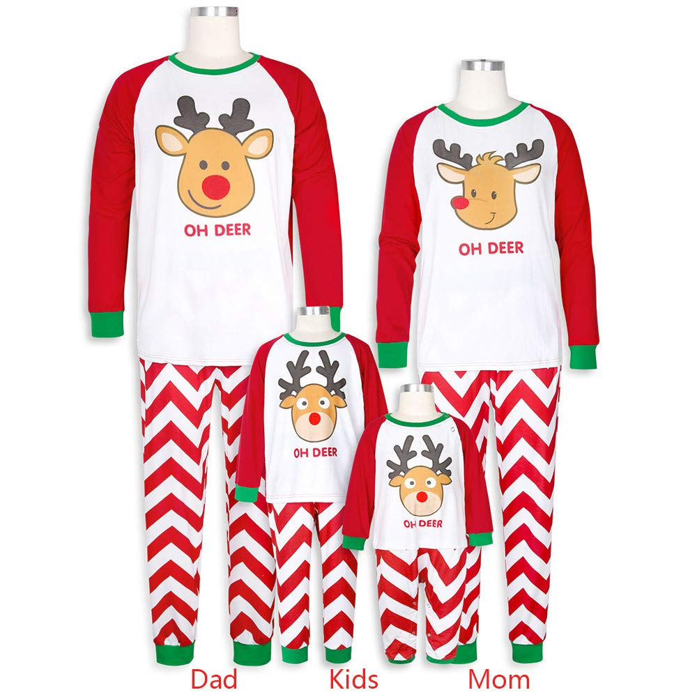 Family Christmas Pajamas Matching Set 2PCS Christmas Children Cartoon Letter Print Top+Pants Family Clothes Pajamas