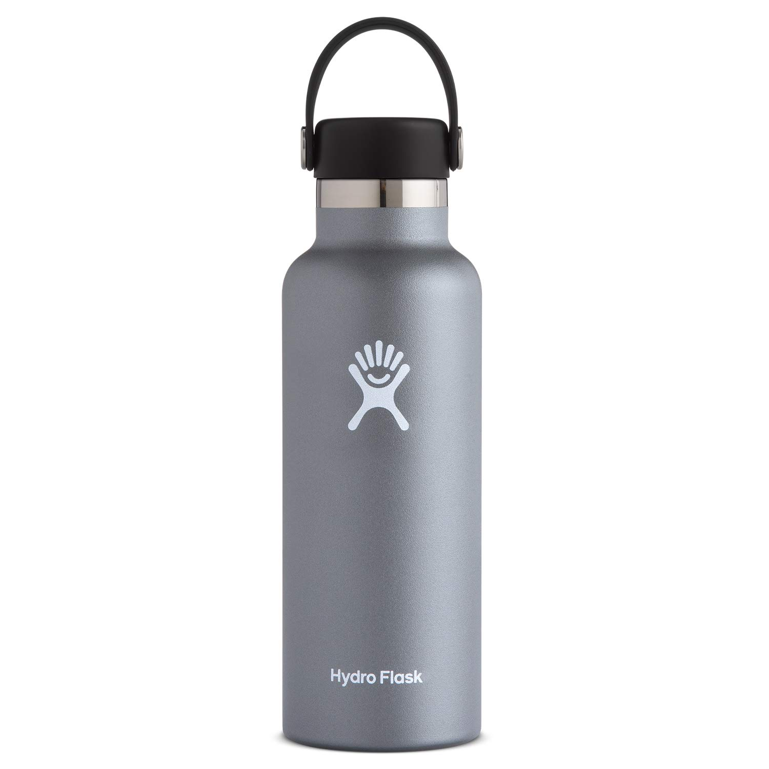 Hydro Flask Water Bottle - Stainless Steel & Vacuum Insulated - Standard Mouth with Leak Proof Flex Cap - 18 oz, Graphite by Hydro Flask