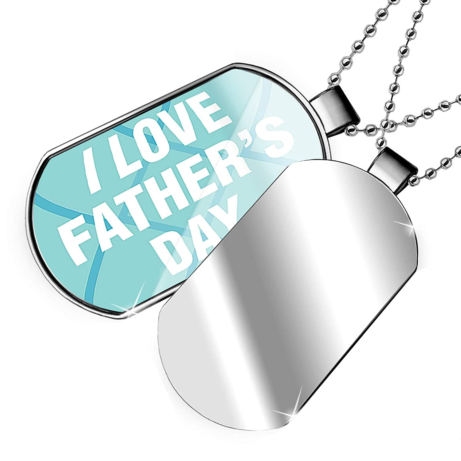 NEONBLOND Personalized Name Engraved I Love Fathers Day Fathers Day Bold Blue Design Dogtag Necklace