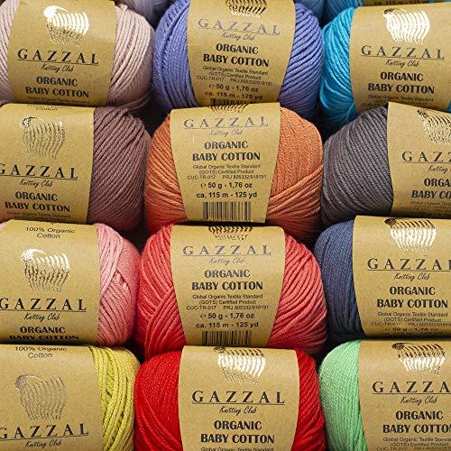 Gazzal Organic Baby Cotton Gift Set, 18 Balls of Assorted Colors, 100% Cotton, 1 Ball: 50g (1.76 oz)/115 m (125 yds), Yarn Weight: 3 Light-Dk by Gazzal (Image #2)