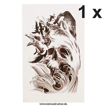 Calavera Cuervo Cuervo Crow – Una vez Tattoo en negro – QS de C037 ...