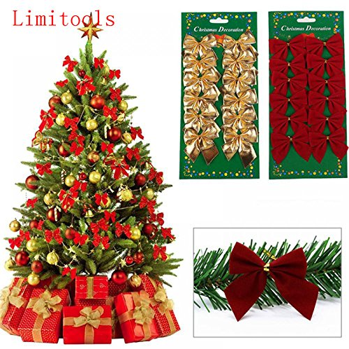 High-Season 12PCS Pretty Bow Xmas Ornament Christmas Tree Decoration Festival Party Home Bowknots Baubles Baubles New Year Decoration (Gold) (Charles Gold Yarn)