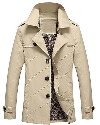 Homme Blouson Manches Longues Col à Revers Veste Classique Manteau Trench