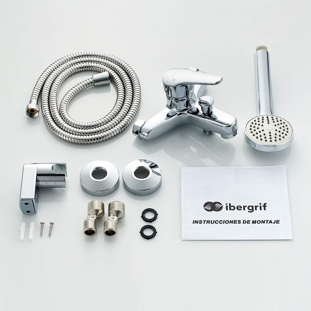 Conjunto de de Grifo para Ducha Mezclador de Ducha Monomando para Instalaci/ón en Pared Acero Inoxidable Ibergrif M12003-Mundo