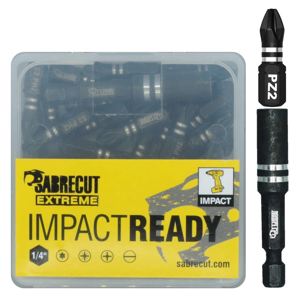 21 x SabreCut SCPA25_21 25mm PZ2 Impact Screwdriver Driver Bits Set Single Ended PoziDriv POZI No.2 Heavy Duty Including Bit Holder and Storage Box TopsTools