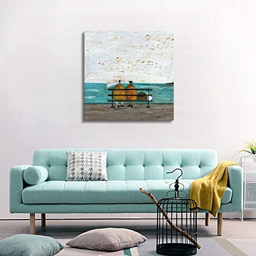 Picabala Abstract Canvas Wall Painting-Couple and Dog By the Lake Canvas Picture Vintage Landscape Wall Art Framed and Stretched Decorative Painting for Home Office Decor Ready to Hang-20 20 Framed