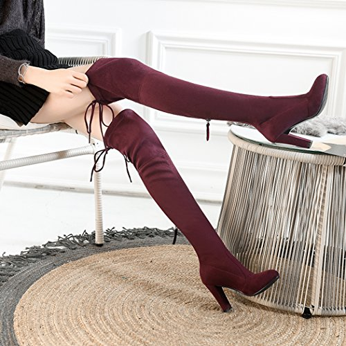 wetkiss Slim Stretch Boot Women Over The Knee Boots High Heels Thigh High Boots Lady Shoes Wine Red RyRdFGjY