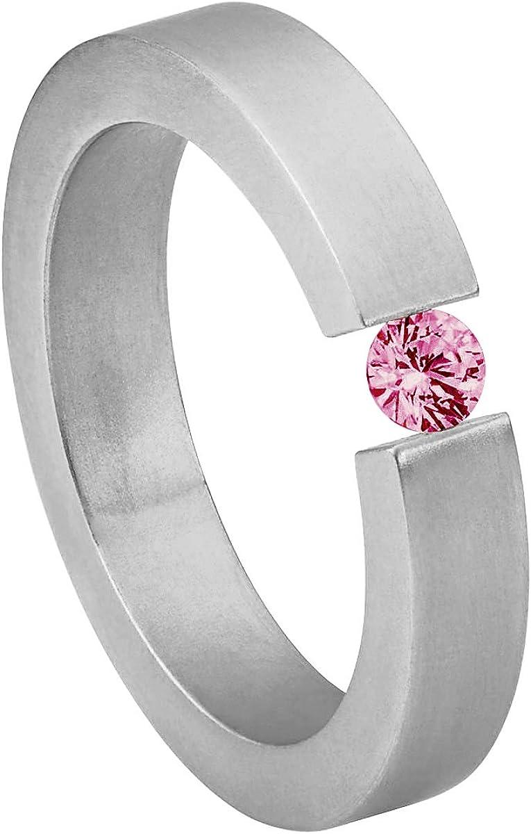 Heideman Ring Ladies Anillo de Acero Inoxidable Alterna para Mujeres con Swarovski Stone Zirconia Blanco Talla Brillante 4mm