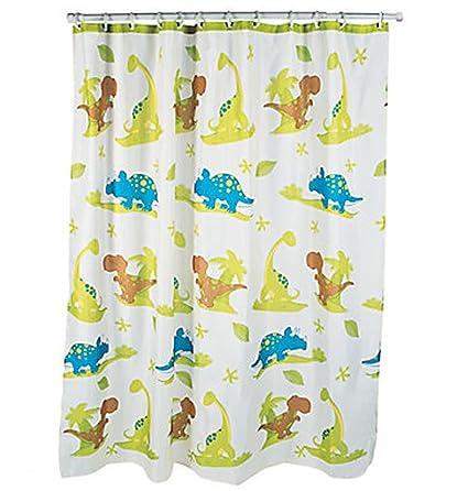 Dinosaur Shower Curtain Kid Child Boy Bathroom Bath Decor Children Blue Green