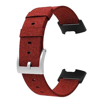 Reloj Inteligente Goodbenemall de Lona, Correa de Reloj Inteligente para Fitbit Charge 3 (Rojo