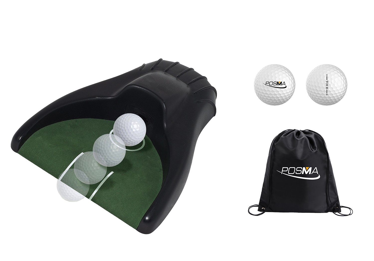 POSMA PG150A Golf Kickback Putt Cup Gift Set Auto Return Putting Cup Golf Putter Trainer