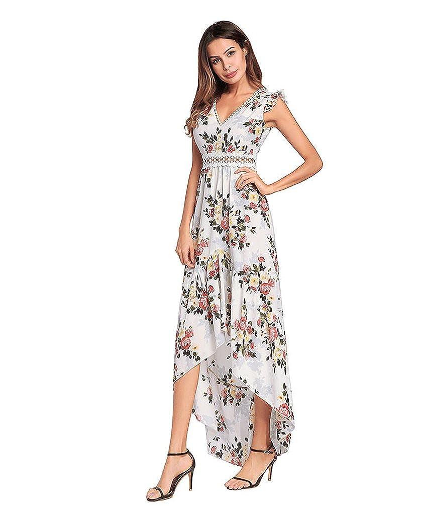 YiJeee Vestito Lungo Donna Scollo V Elegante Bohemian Senza Maniche Maxi  Abito da Sera da Cocktail Gonna da Spiaggia  Amazon.it  Abbigliamento 951a623ec3c