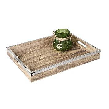 Serviertablett Dekotablett Holz Landhaus Tablett Holztablett Naturfarben Set
