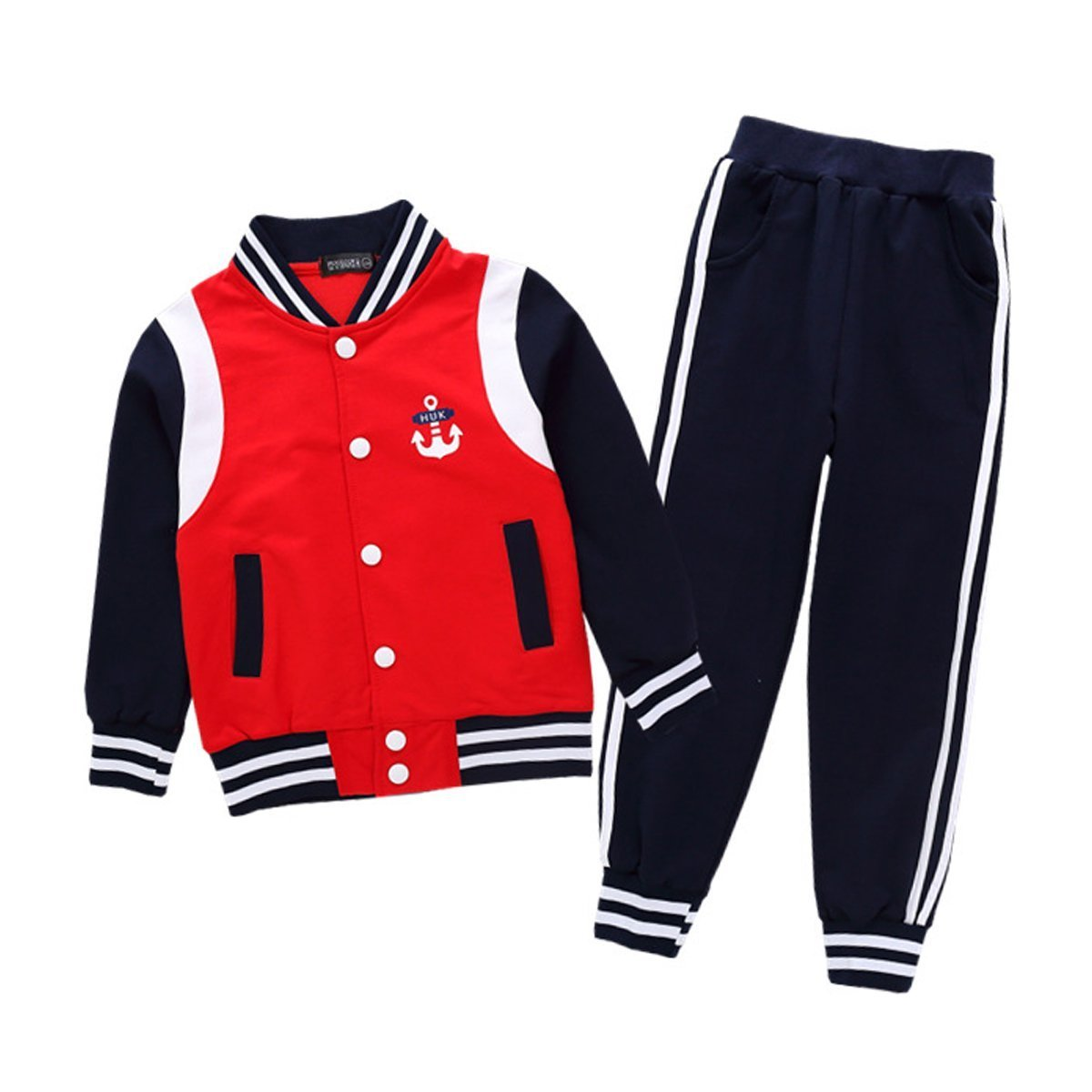 OnlyAngel Boys Baseball Tacksuits Striped Jacket Coat + Elastic Trouser Age 4-13 (Red, 5-6 Years) by OnlyAngel