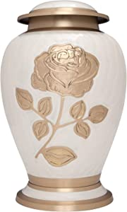 Ansons Urns Silver Rose Cremation Urn - Funeral Urn with Large Flower on Enamel - Burial Urn for Human Ashes Adult Size - 100% Brass (White-Gold)