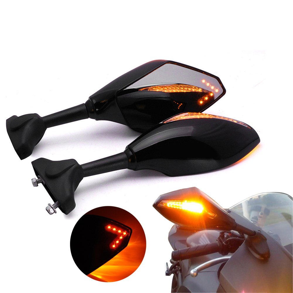 2X Black Integrated Anti Glare Font & Rear Turn Signal Rearview Side Marker Mirror Smoke Lens For BMW Ducati Triumph Yamaha Honda Sport Bike (Smoke Lens, Black)