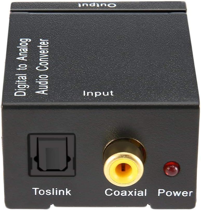 Ballylelly Digital Optisch Koaxial Toslink Signal zu Analog Audio Converter Adapter Cinch Digital zu Analog Audio Converter Schwarz