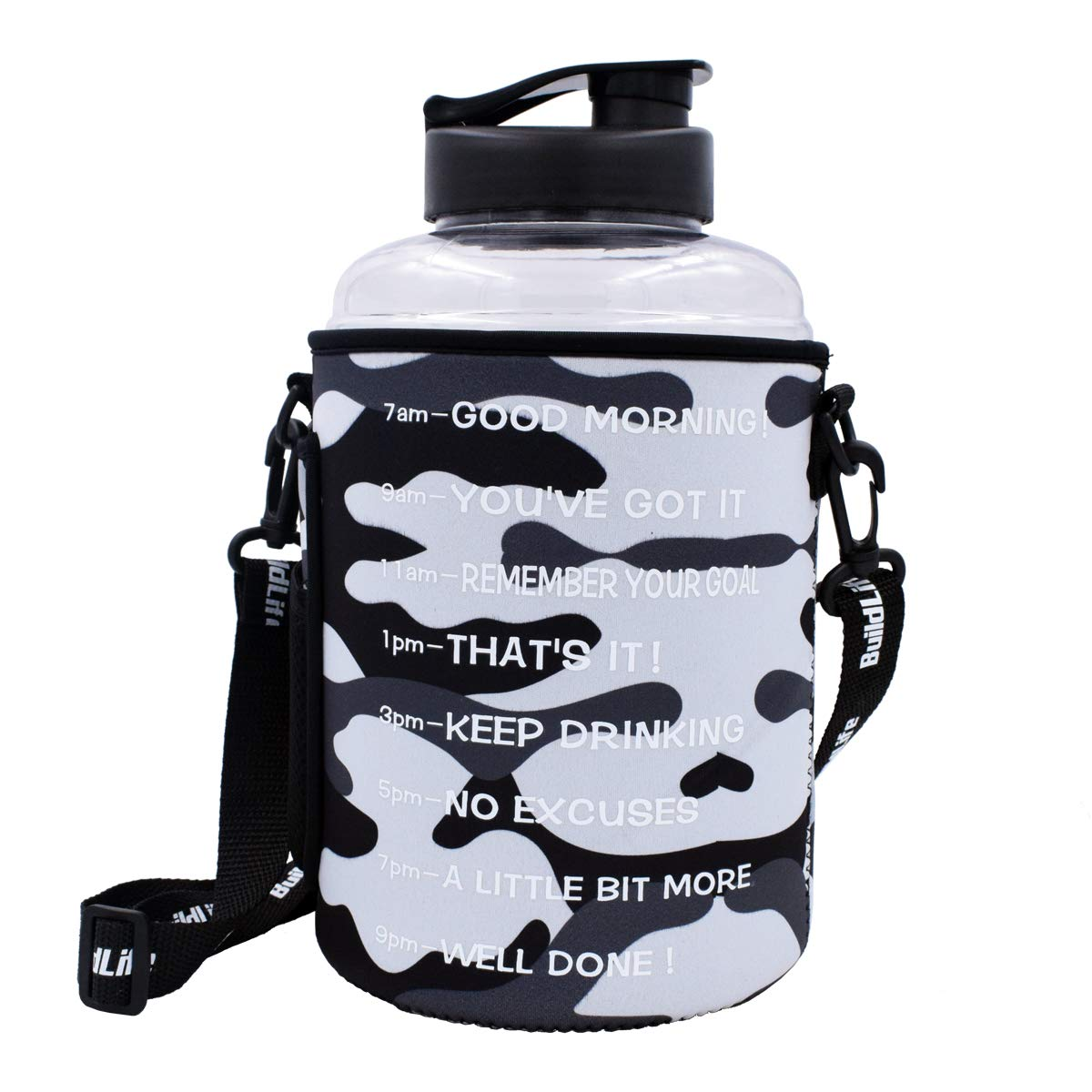 BuildLife 1 Gallon(128OZ) Sports Water Bottle Inspirational Fitness Workout Wide Mouth with Time Marker and Sleeve for Measuring Your H2O Intake BPA Free (1 Gallon, 1 Gallon-Clear with Sleeve)