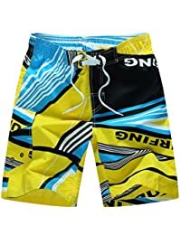 Moxeay Men Loose Personality Printing Beach Wear Shorts Pants