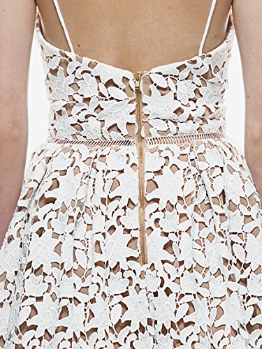 Midi Party Women Lace Skirt GOSOPIN White Line V A Spaghetti Strap Dress Neck Cocktail q1t68