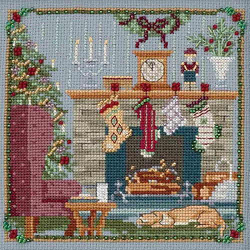 Stockings were Hung Beaded Counted Cross Stitch Kit Mill Hil