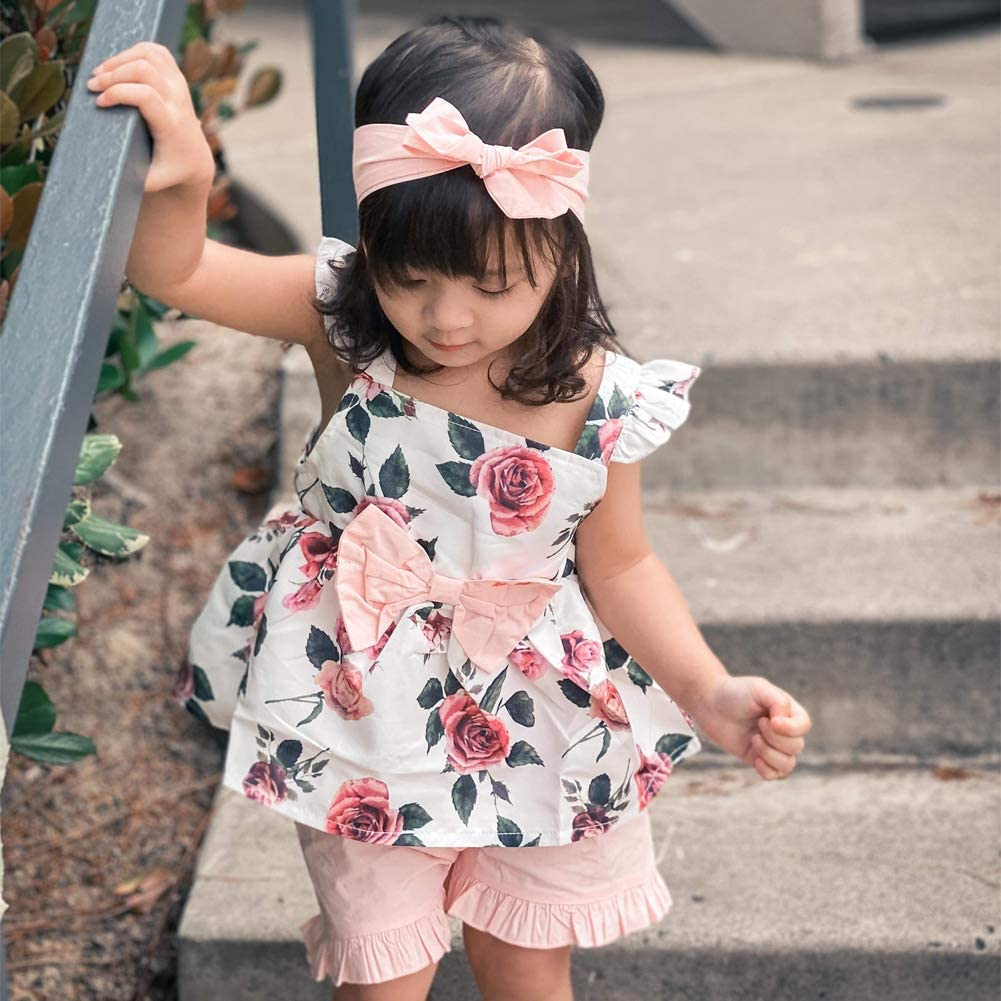 3pc Bow Ruffle Top with Shorts Headband Sets WESIDOM Baby Girls Clothes Outfits