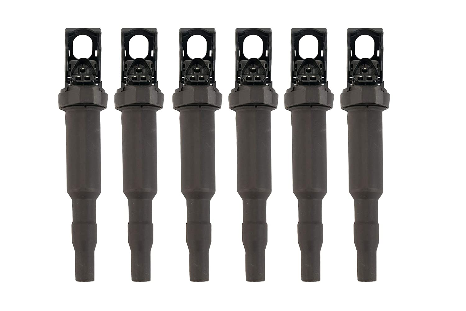 Ignition Coil Pack Set of 6 - Replacement for Bosch 0221504470, 12138616153, 12138657273, 12137594937, 12137562744 - Fits BMW 325i, 335i, 328i, 525i, 530i, 330i, 650i, X3, X5, M3 and more