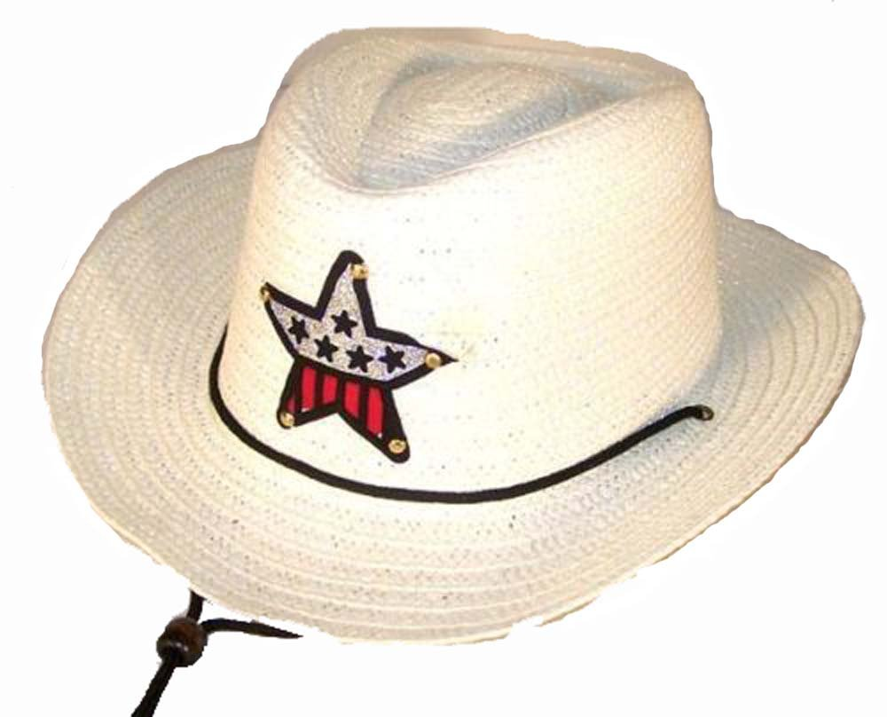 12 Bulk Lot Assorted Colors Kids Straw Western Cowboy / Cowgirl Hat with Americian Flag Star Emblem Patch -Childrens Size by Novelties company (Image #4)