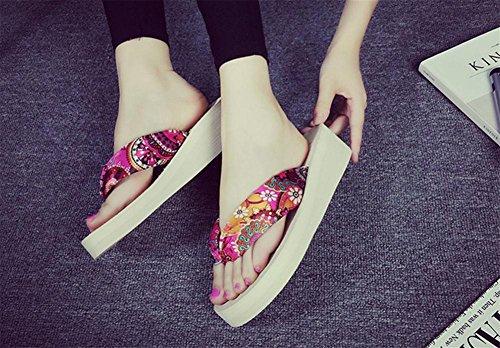 Señoras Sandalias de verano con zapatillas de espinilla espesando suelas Zapatillas de playa Zapatillas 2