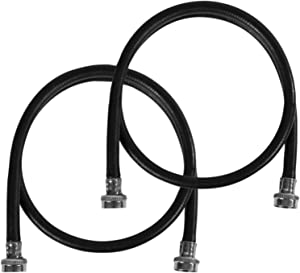 Certified Appliance Accessories Washing Machine Hose (2 Pack), Hot and Cold Water Supply Line, 6 Feet, Polyester-Reinforced EPDM, Black