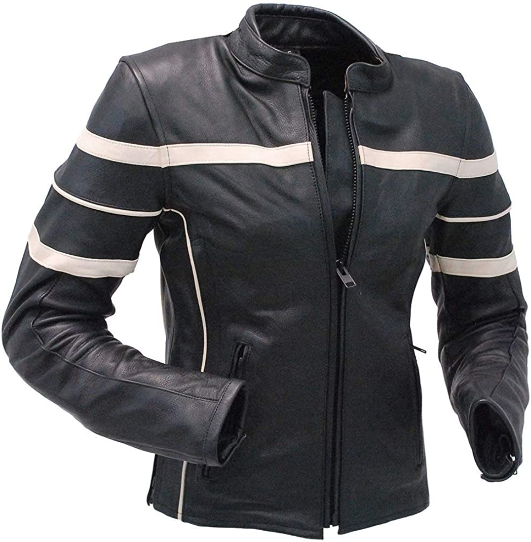 60s 70s Men's Jackets & Sweaters Jamin Leather - Womens Cream Stripe Vented Racer Motorcycle Jacket w/Armor #L259210AZC $109.99 AT vintagedancer.com