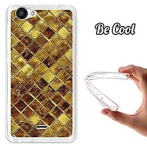 BeCool® - Funda Gel Flexible Wiko Slide 2 Cuadrados de Oro Brillantes Carcasa Case Silicona TPU Suave