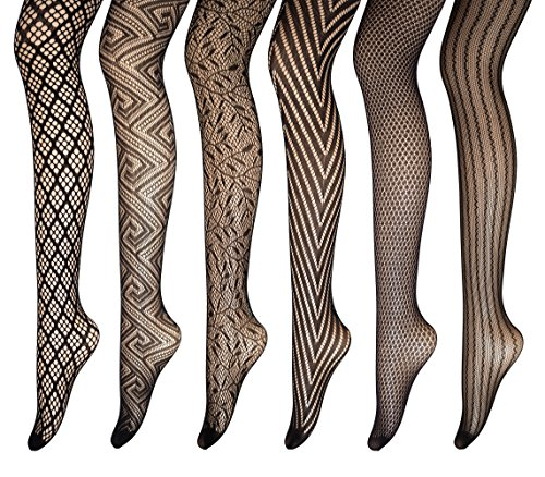 PreSox Fishnet Tights Seamless Nylon Mesh Stockings Toeless Pantyhose for Women 6 Pack, One Size, B