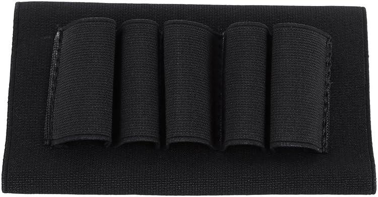 SOONHUA - Soporte para escopeta elástica para exteriores, bolsa de accesorios con rifle negro de cinco agujeros para cartucho de caza, color negro