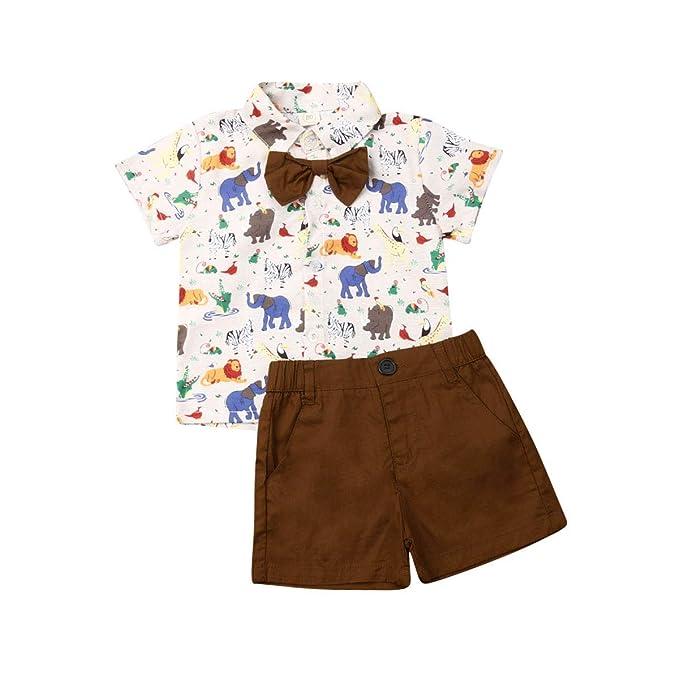 Amazon.com: Conjunto de ropa de verano para bebé de manga ...