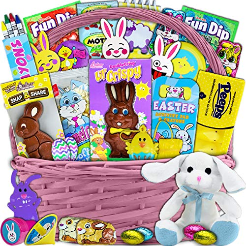 Pink Easter Basket for Kids and Adults 30ct - Already Filled Easter Gift Basket with Plush Easter Bunny, Chocolate, Candy, and Toys - Boys, Girls, Grandchildren, Young Children, Toddlers, Men, Women