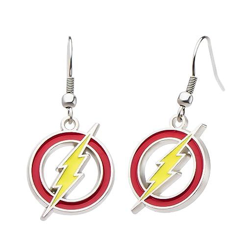 a73c1fb12 The Flash Logo Dc Comics 4 Pair of Stud Earrings Ear Rings Set