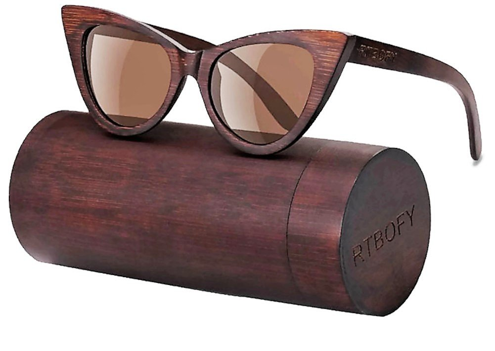 Wood Polarized Cat Eye Sunglasses For Women Wayfarer Style - 100% UV Protection (Brown, Brown)